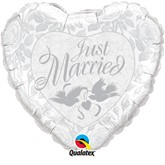 """36"""" Heart Shaped Just Married Foil Balloon"""