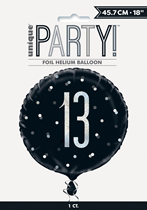 "Black Glitz 13th Birthday Prismatic 18"" Foil Balloon"