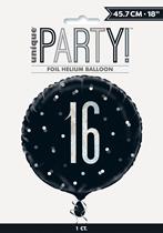 "Black Glitz 16th Birthday Prismatic 18"" Foil Balloon"