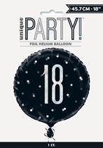"Black Glitz 18th Birthday Prismatic 18"" Foil Balloon"
