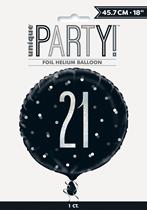 "Black Glitz 21st Birthday Prismatic 18"" Foil Balloon"
