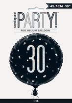 "Black Glitz 30th Birthday Prismatic 18"" Foil Balloon"