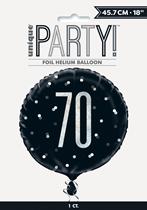 "Black Glitz 70th Birthday Prismatic 18"" Foil Balloon"