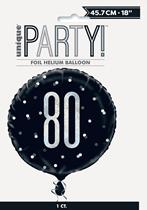 "Black Glitz 80th Birthday Prismatic 18"" Foil Balloon"