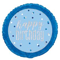 "Blue Glitz Happy Birthday Foil 18"" Balloon"