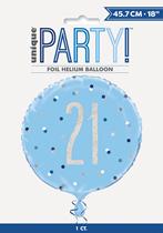 "Blue Glitz 21st Birthday Prismatic Foil 18"" Balloon"
