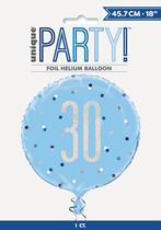 "Blue Glitz 30th Birthday Prismatic Foil 18"" Balloon"
