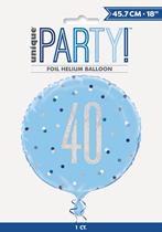 "Blue Glitz 40th Birthday Prismatic Foil 18"" Balloon"