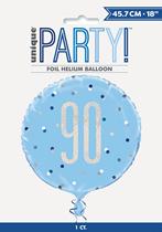 "Blue Glitz 90th Birthday Prismatic Foil 18"" Balloon"