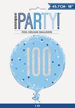 "Blue Glitz 100th Birthday Prismatic Foil 18"" Balloon"