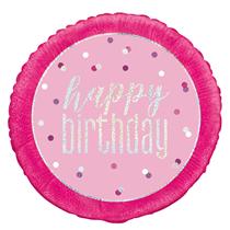 "Pink Glitz Happy Birthday Prismatic 18"" Foil Balloon"