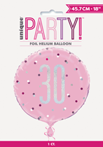 "Pink Glitz 30th Birthday Prismatic 18"" Foil Balloon"