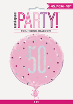 "Pink Glitz 50th Birthday Prismatic 18"" Foil Balloon"