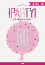 "Pink Glitz 80th Birthday Prismatic 18"" Foil Balloon"