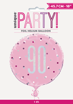 "Pink Glitz 90th Birthday Prismatic 18"" Foil Balloon"