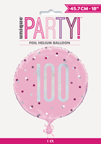 "Pink Glitz 100th Birthday Prismatic 18"" Foil Balloon"