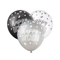 Black, Silver & White Glitz Happy Birthday Latex Balloons 6pk