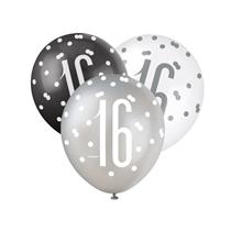 Black, Silver & White Glitz 16th Birthday Latex Balloons 6pk