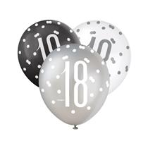 Black, Silver & White Glitz 18th Birthday Latex Balloons 6pk