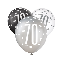 Black, Silver & White Glitz 70th Birthday Latex Balloons 6pk