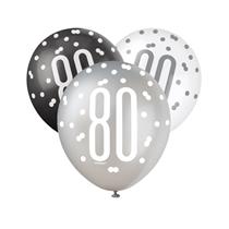 Black, Silver & White Glitz 80th Birthday Latex Balloons 6pk