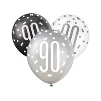 Black, Silver & White Glitz 90th Birthday Latex Balloons 6pk