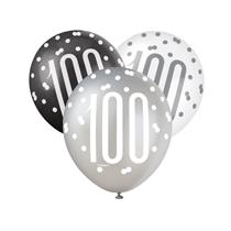 Black, Silver & White Glitz 100th Birthday Latex Balloons 6pk