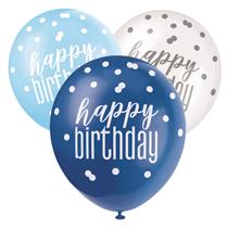 Blue & White Glitz Happy Birthday Latex Balloons 6pk