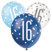 Blue & White Glitz 16th Birthday Latex Balloons 6pk