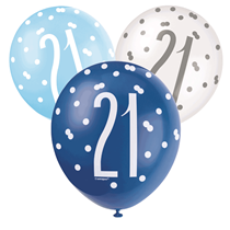 Blue & White Glitz 21st Birthday Latex Balloons 6pk