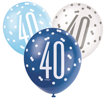 Blue & White Glitz 40th Birthday Latex Balloons 6pk