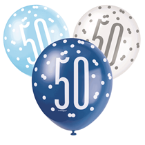 Blue & White Glitz 50th Birthday Latex Balloons 6pk