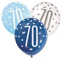 Blue & White Glitz 70th Birthday Latex Balloons 6pk