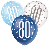 Blue & White Glitz 80th Birthday Latex Balloons 6pk