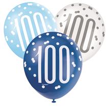 Blue & White Glitz 100th Birthday Latex Balloons 6pk