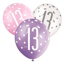 Pink, Purple, White Glitz 13th Birthday Latex Balloons 6pk