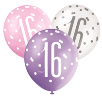 Pink, Purple, White Glitz 16th Birthday Latex Balloons 6pk