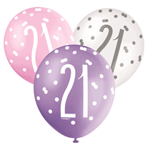 Pink, Purple, White Glitz 21st Birthday Latex Balloons 6pk