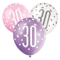 Pink, Purple, White Glitz 30th Birthday Latex Balloons 6pk