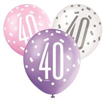 Pink, Purple, White Glitz 40th Birthday Latex Balloons 6pk