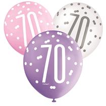 Pink, Purple, White Glitz 70th Birthday Latex Balloons 6pk
