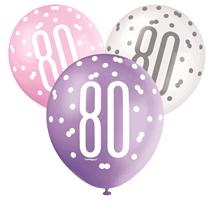 Pink, Purple, White Glitz 80th Birthday Latex Balloons 6pk