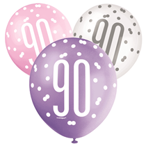 Pink, Purple, White Glitz 90th Birthday Latex Balloons 6pk
