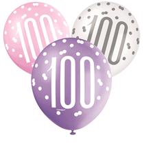 Pink, Purple, White Glitz 100th Birthday Latex Balloons 6pk