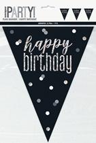Black Glitz Happy Birthday Foil Flag Banner 9ft