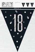Black Glitz 18th Birthday Foil Flag Banner 9ft