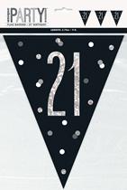 Black Glitz 21st Birthday Foil Flag Banner 9ft