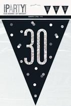 Black Glitz 30th Birthday Foil Flag Banner 9ft