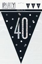 Black Glitz 40th Birthday Foil Flag Banner 9ft