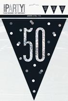 Black Glitz 50th Birthday Foil Flag Banner 9ft